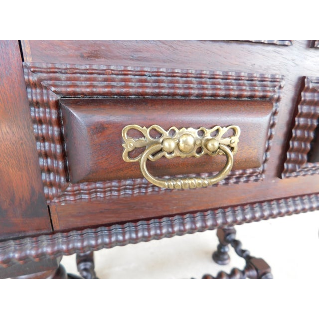 Antique Spanish Baroque Style Mahogany Nightstand End Table For Sale - Image 12 of 13