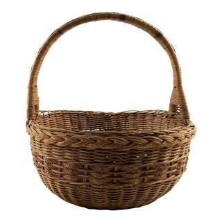 1930s Boho Chic Woven Reed Basket For Sale