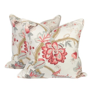 Pink and Cream Linen Peony Punch Pillows, a Pair