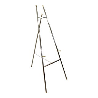 Mid Century Modern Chrome & Brass Art Display Easel Made in Italy 1970s For Sale