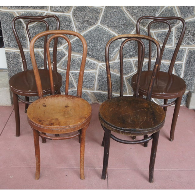 Shabby Chic 1940s Antique Thonet Model 18 Cafe Chairs - Set of 4 For Sale - Image 3 of 13