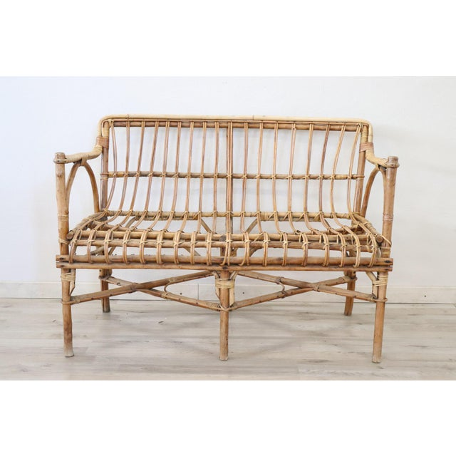 20th Century Italian Bamboo and Rattan Living Room Set of 4 Pieces, 1960s For Sale - Image 6 of 13