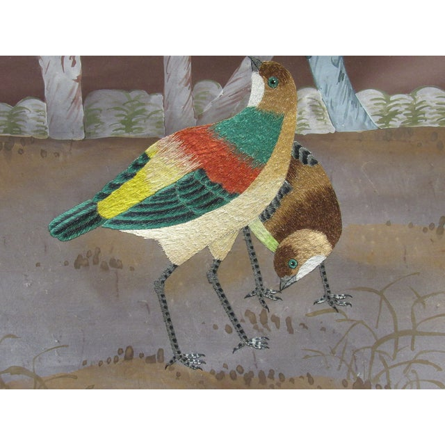 Asian Hand Painted and Embroidered Mural on Paper Backed Silk For Sale - Image 3 of 13