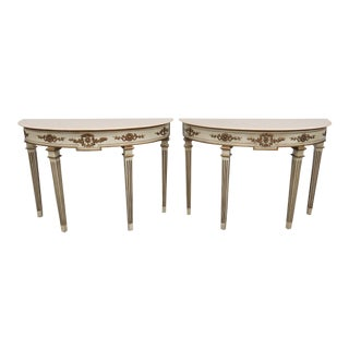 20th Century Neoclassical Marble Top Demilune Console Tables - a Pair For Sale