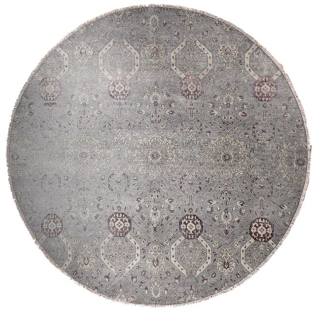 """Farahan Hand-Knotte Rug - 8'2"""" Round. For Sale"""