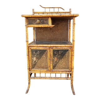 Antique English Bamboo Chinoiserie Etagere Cabinet