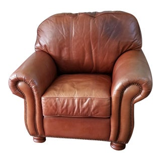 Art Deco Leather Cigar Club Chair Distress Firm For Sale