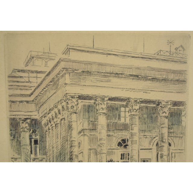 1920s Vintage Reporters Swarming Courthouse Awaiting Verdict Veder Hand-Colored Etching For Sale In Chicago - Image 6 of 10
