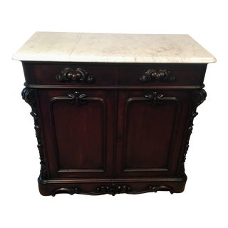 19th Century Victorian Marble Top American Walnut Server Sideboard For Sale