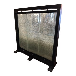 Black Oak Three Paneled Crackled Glass Wall Divider For Sale