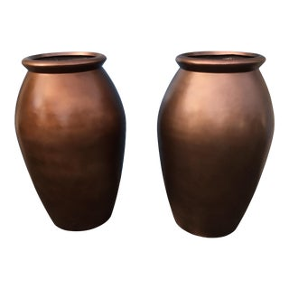 Modern Metallic Dark Copper Colored Urn Planters- A Pair For Sale