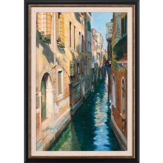 """2003 """"Afternoon Canal"""" Oil Painting by Andrew Jones, Framed For Sale"""