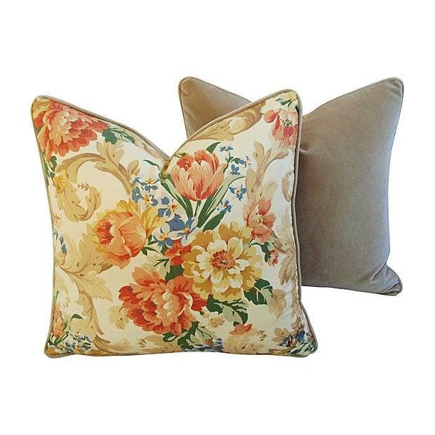 Designer Italian Linen & Velvet Pillows - A Pair - Image 5 of 7