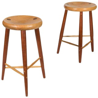 Pair Walnut and Maple Studio Stools For Sale