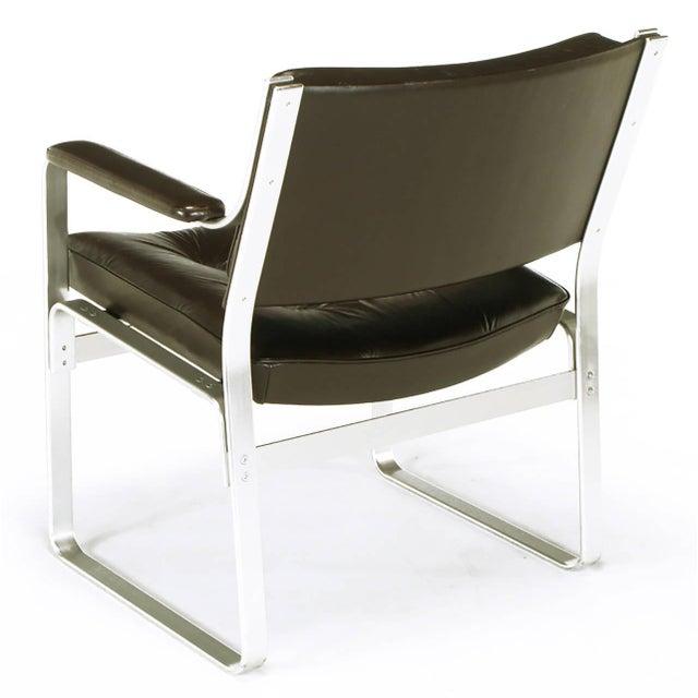 Metal Pair Karl-Erik Ekselius Leather and Aluminum Mondo Armchairs For Sale - Image 7 of 9