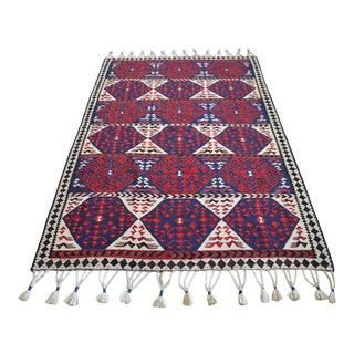 1960s Hand Woven Kilim Rug Flat Weave Kurdish Area Rug For Sale