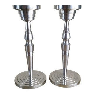 Machine-Age Turned Aluminum Candle Sticks - A Pair