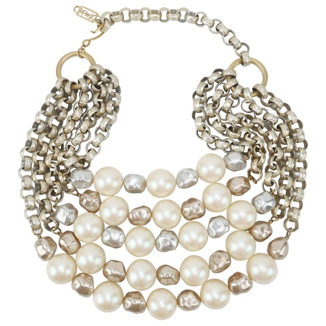 ff8b7899a3b Stunning C.1990 Yves Saint Laurent Multi-Strand Pearl Necklace For Sale -  Image