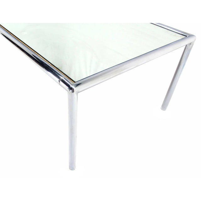 Modern Extra Long Chrome Tubular Design Dining or Conference Table with Mirrored Top For Sale - Image 3 of 5