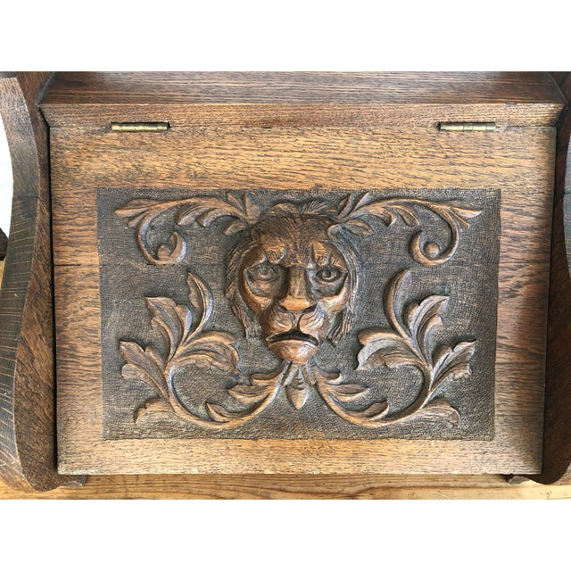 Mid 19th Century Victorian Firewood Pellet Bin Deeply Carved Lions Head Fireplace Hearth Accessory For Sale In Monterey, CA - Image 6 of 7