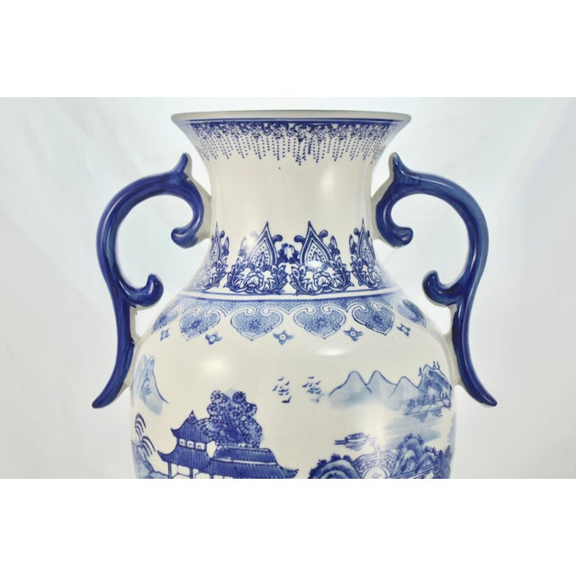 Large vintage Chinese 14 inch porcelain blue on white two handle urn or floor vase with nautical and mountain scenes....