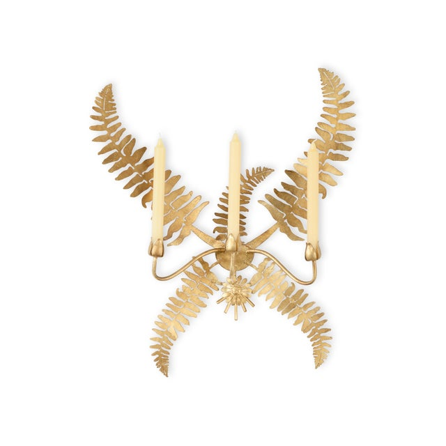 Contemporary Chelsea House Inc Gold Fern Leaf Sconce For Sale - Image 3 of 3