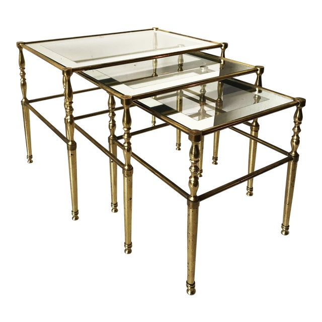 Vintage French Set of 3 Nesting tables by Maison Jansen For Sale