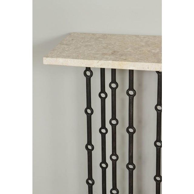 Paul Marra Iron Console With Stone Top For Sale In Los Angeles - Image 6 of 7