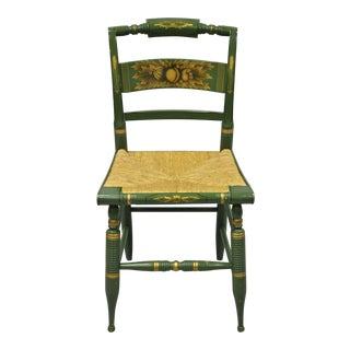 Vintage Mid Century Green L. Hitchcock Windsor Colonial Rush Seat Chair For Sale