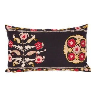 Early 20th C. Vintage Hand Embroidered Uzbek Samarkand Pillow ~ Down Feather Insert Included. For Sale