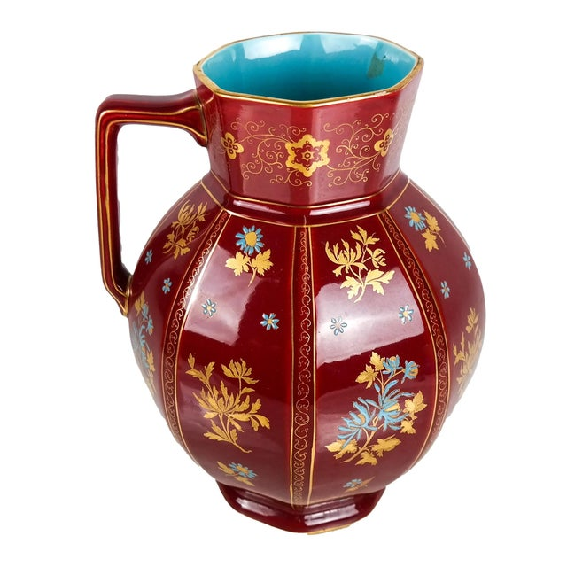 Ceramic Early 20th Century Large Chinoiserie Red Floral Pitcher For Sale - Image 7 of 7