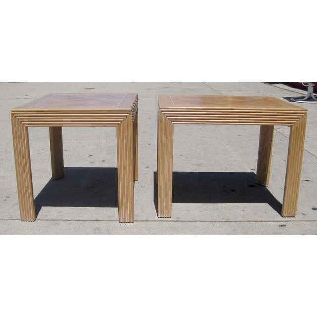 Parquet Top Sides Tables by Lane - Pair - Image 3 of 6