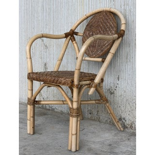 1960s Pair of Spanish Bamboo Armchairs With Ovaled Back Rest Preview