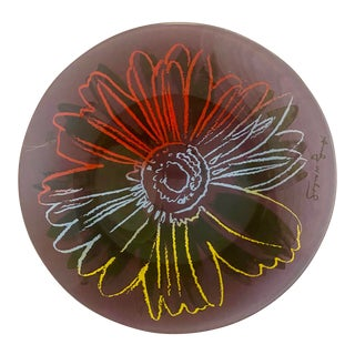1980s Andy Warhol by Rosenthal Glass Flower Plate With Original Box For Sale
