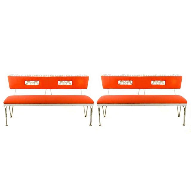 Hollywood Regency Orange and White Iron Benches - a Pair For Sale - Image 13 of 13