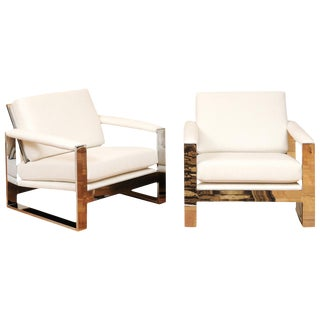 Magnificent Pair of Mirror Chrome Cube Loungers by Milo Baughman, Circa 1975 For Sale