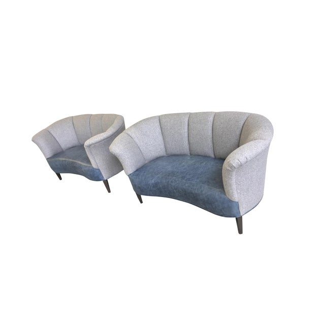 Danish Modern Slagelse Mobelvaerk Reupholstered Danish Channel-Back Settees - A Pair For Sale - Image 3 of 12