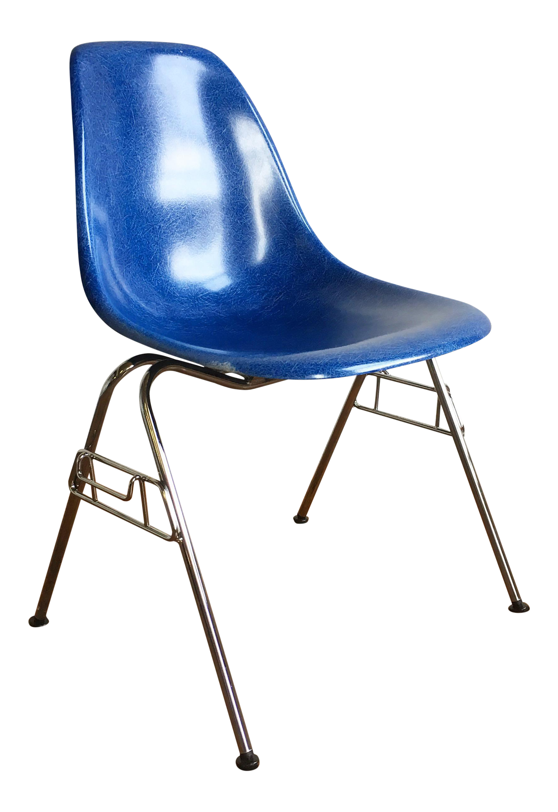 Herman Miller Eames Fiberglass Shell Chair In Royal Blue