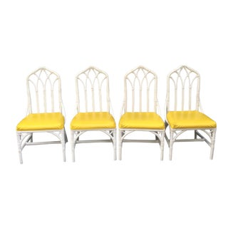 Henry Link Rattan Bamboo Yellow Vinyl Upholstered Chairs - Set of 4