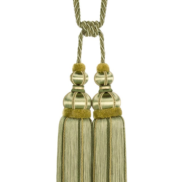"""Elegant and beautifully made, double tassel tieback in tones of ""Olive Green"" with beautiful satin wrapped moulds and..."