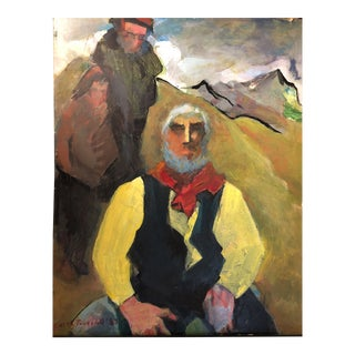 David Park's Aunt Edith Park Truesdell Large Figurative Painting on Board For Sale