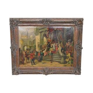 Ornately Framed Large Hand Painted Oil Painting of Carnival Street Scene