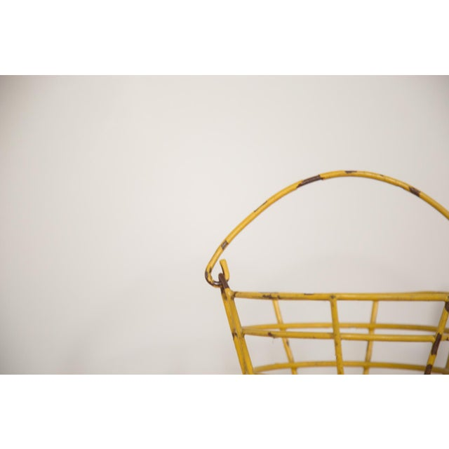 Country Small Vintage Yellow Egg Basket For Sale - Image 3 of 5