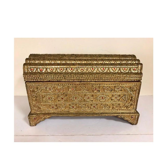 Stunning giltwood jeweled box for your valuables or just a gorgeous decorative piece.
