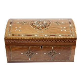 Late 20th Century Mother of Pearl and Wood Inlay Jewelry Box For Sale