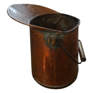 Antique French Copper Watering Pitcher With Brass Trim For Sale