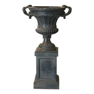 Vintage Dark Gray Planter Urn For Sale