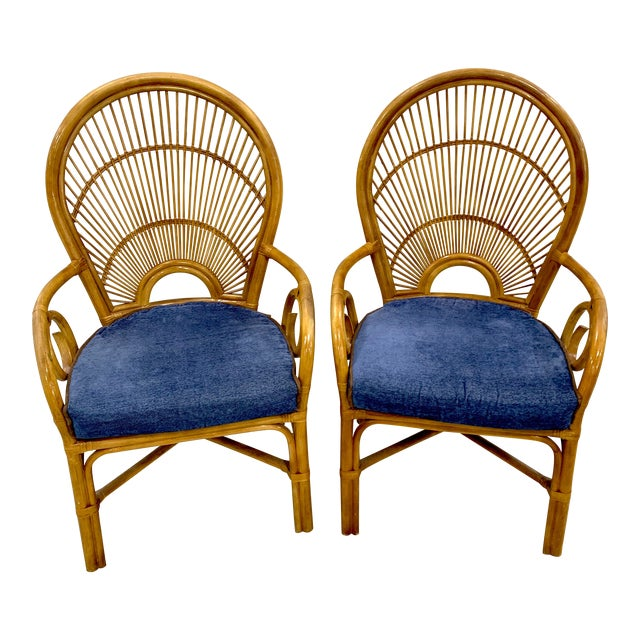 1970s Bamboo & Rattan Back 'Sunrise' Armchairs - a Pair For Sale