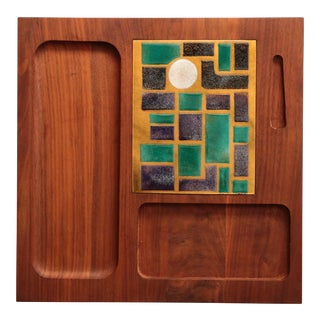 Walnut and Enameled Copper Cheese Board For Sale