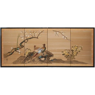 1960s Vintage Japanese Pheasant Byobu Screen For Sale